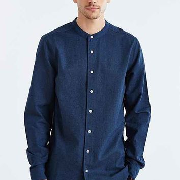 The Narrows Linen Mandarin Collar Button-Down Shirt- Navy