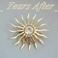 Modernist Vintage CRYSTAL Brooch Faceted Starburst c.1940's!