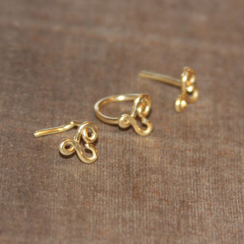 Valentine Infinity Heart Nose Stud Ring, 14k GF Heart Cartilage Stud, tragus cartilage earring, Gold Helix Ring, Tiny Nose Ring, Nose Jewelr