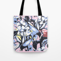 Pattern Exotic Flowers Tote Bag by Lostanaw