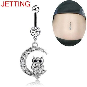 ac DCCKO2Q 1Pc Belly Button Ring Piercing Jewelry White Moon Owl Pendant Navel Piercing For Women