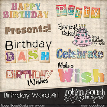 Bithday Clip Art Word Art - Happy BIrthday Digital Scrapbook Embellishments Clipart