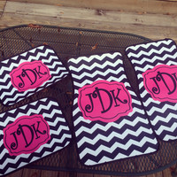 Car Mats Chevron Personalized Monogrammed Floor Car Mat Black Hot Pink