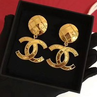 """Chanel"" Popular Classic Women Exaggerated Big Logo Simple Golden Earring I-QSSP-DP"