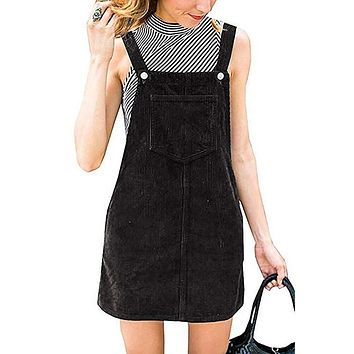 Women Bib Overall Women Casual Pocket Dresses Girls Preppy Style Mini Dress