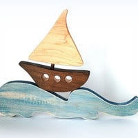 Wooden boat and wave, baby's room decoration, baby's room, sea, ocean, marin