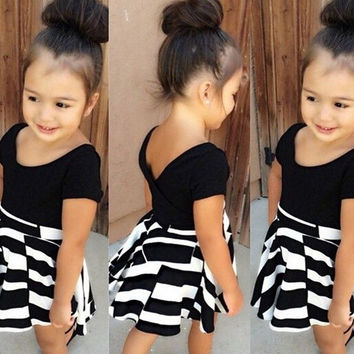 2015 summer children girls black t shirt+ striped skirt fashion 2 pcs set = 1946257668