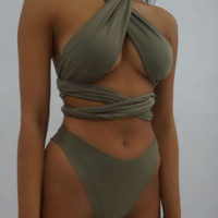 CUTE CROSS BANDAGE MANY WAYS WEAR BATH SUIT HIGH WAIST CROSS ONE PIECE SWIMWEAR