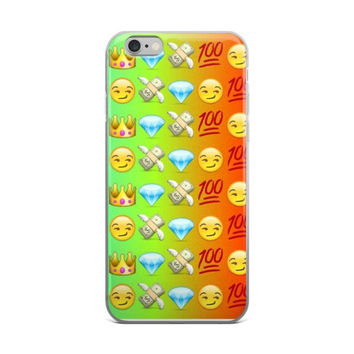 Grin Smiley Face Princess Crown Cash Money With Wings Blue Diamond & 100 Emoji Collage Cute Teen Girly Girls Green & Orange iPhone 4 4s 5 5s 5C 6 6s 6 Plus 6s Plus 7 & 7 Plus Case