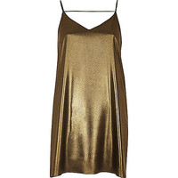 Gold strap back cami dress - slip / cami dresses - dresses - women