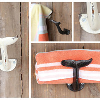 Vintage Iron Décor Hooks! Whale Tail Wall Hooks! Set of 2 Includes An Antiqued White & A Rust Patina Hook!