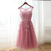Hot Cocktail Dresses Real Photo Robe cocktail 2017 A Line Scoop Custom Made Cocktail Formal Gowns Beaded Lace Party Gowns