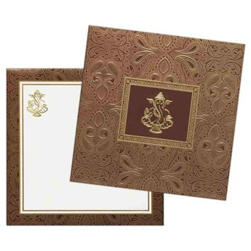 Red Golden Silk Design Invitation Card-KNK2425