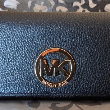 MICHAEL KORS ~Leather LARGE GUSSET CARRYALL Clutch Wallet ~BLACK~ NWT $148