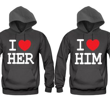 I Love Her - I Love Him Unisex Couple Matching Hoodies