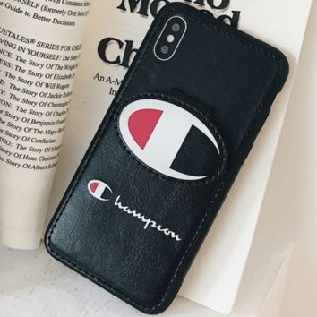 Champion personality couple tide card card iPhone XS Max mobile phone shell leather soft shell Black
