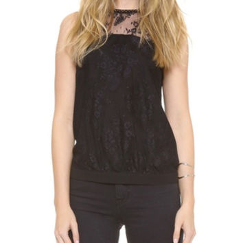 Cooper & Ella Emily Beaded Lace Black Halter Top