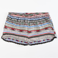 Full Tilt Tribal Print Girls Crcohet Trim Shorts Black Combo  In Sizes