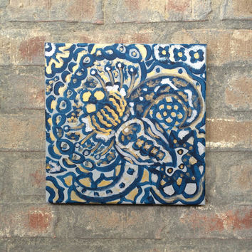 Blue silver and gold painting, silver and gold abstract painting, silver and gold decor, blue decor
