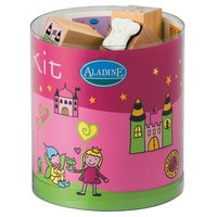 Aladine Fairyland Themed Rubber Stamps, Set of 15 Plus 1 Ink Pad