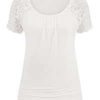 Crochet Short Sleeve Tee - White