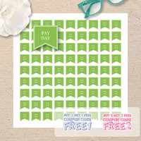 Pay Day Printable Planner Stickers, 1x1inch, 12x12 format size, Flag Stickers, Scrapbooking, Instant Download