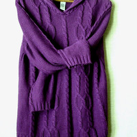 oversized sweater - purple - cable knit - cotton - size M