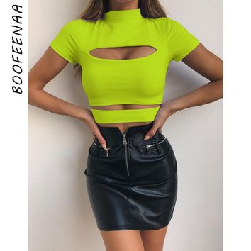 BOOFEENAA Summer 2019 Womens T Shirt Neon Yellow Black Hollow Out High Neck Short Sleeve Sexy Crop Tops Trendy Clothes C76-H77