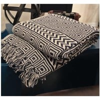 Upton Geometric Navy Blue Cotton Throw