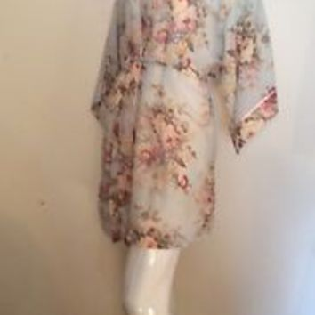 VTG VAL MODE 50-60s LOOK CLASSIC PASTEL FLORAL DRESSING GOWN KIMONO