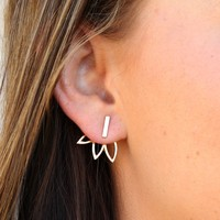 European Bar and Lotus Earrings