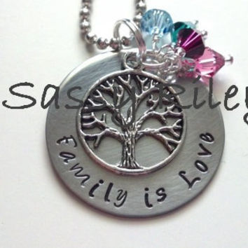 Family is Love  with Swarovski crystal birthtones - pendant necklace - hand stamped