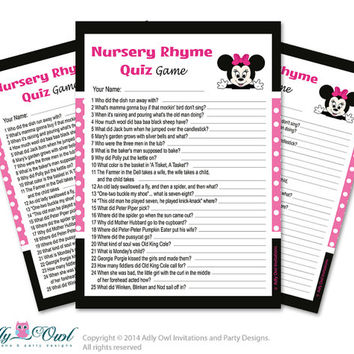 Girl Minnie Mouse Nursery Rhyme Game, Find Rhyme Game Quiz for Baby shower  Minnie Mouse  Shower DIY Black Pink Polka- oz09bs45
