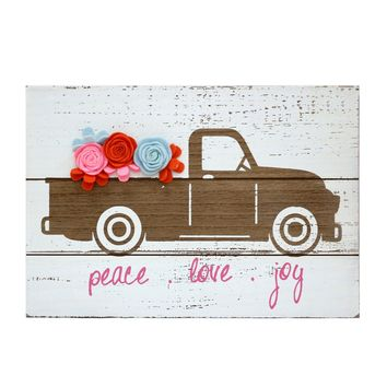 Peace, Love and Joy Truck Christmas Wall Sign