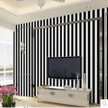 Black and white striped waterproof wallpaper self - adhesive wall paste bedroom living room background wall wallpaper PVC-571z