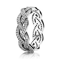 Authentic 925 Sterling Silver Ring Eternity Sparkling Braided Crystal Ring For Women compatible with Pandora jewelry HRA0095