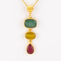 Triple Agate Multi-Color Stone Pendant Necklace
