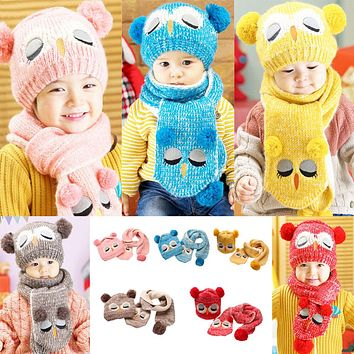 Winter Warm Baby Boys Girls Hat Scarf Set Infant Toddler Kids Wool Knitted Cap Cartoon Animal Cute Owl Hats