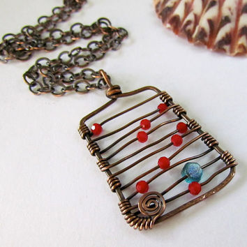 Abacus Pendant hammered copper sparkle red blue by SandstarJewelry