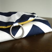Jewelry Organizer Roll Clutch for Travel - Navy and White Chevron with Yellow