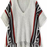 Grey V Neck Short Sleeve Fringed Knit Sweater