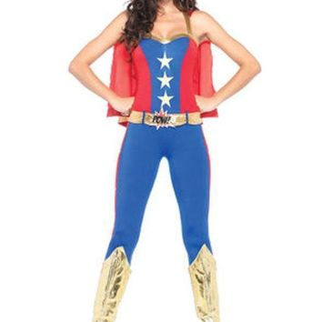 VONE5FW 3PC.Comic Book Hero,halter catsuit w/cape,belt,headband in BLUE/RED