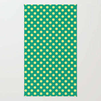 Emerald Green With Yellow Polka Dots Area & Throw Rug by Inspired By Fashion