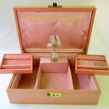 Mele Ballerina Musical Jewelry Box with Swivel Tray Pink Interior Vintage