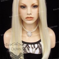 """24 inch Heat Safe Synthetic Straight Texture Lace Front """"Aphrodite"""" in White/Platinum Blonde Mix"""