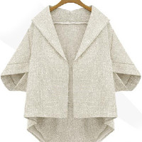 Grey Batwing Half Sleeve Loose Fitting Blazer