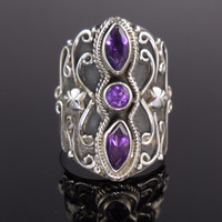 Amethyst 3-Stone Sterling Silver Ring - Size 8.5