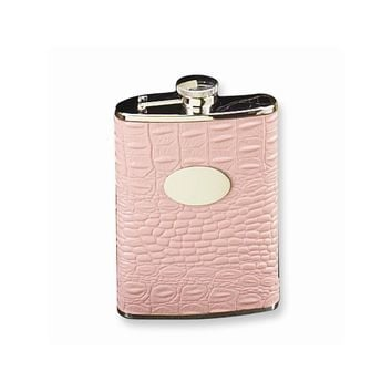 Stainless Steel and Pink Leather 6 oz. Flask - Engravable Personalized Gift Item