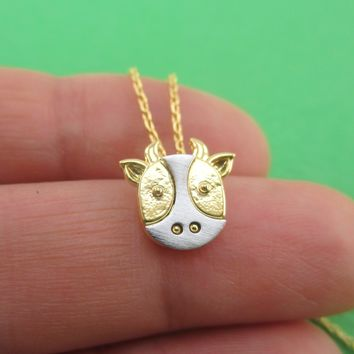 3D Cow Face Cattle Oxen Shaped Pendant Necklace in Gold