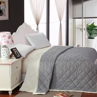 New gray Summer comforter patchwork double side solid quilt 200*230cm brief green blanket thin comforter twin/full/queen/king